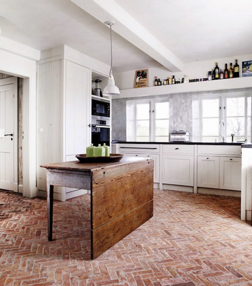 Kitchen With Red Brick Floors And White Cabinets In 2019 Room