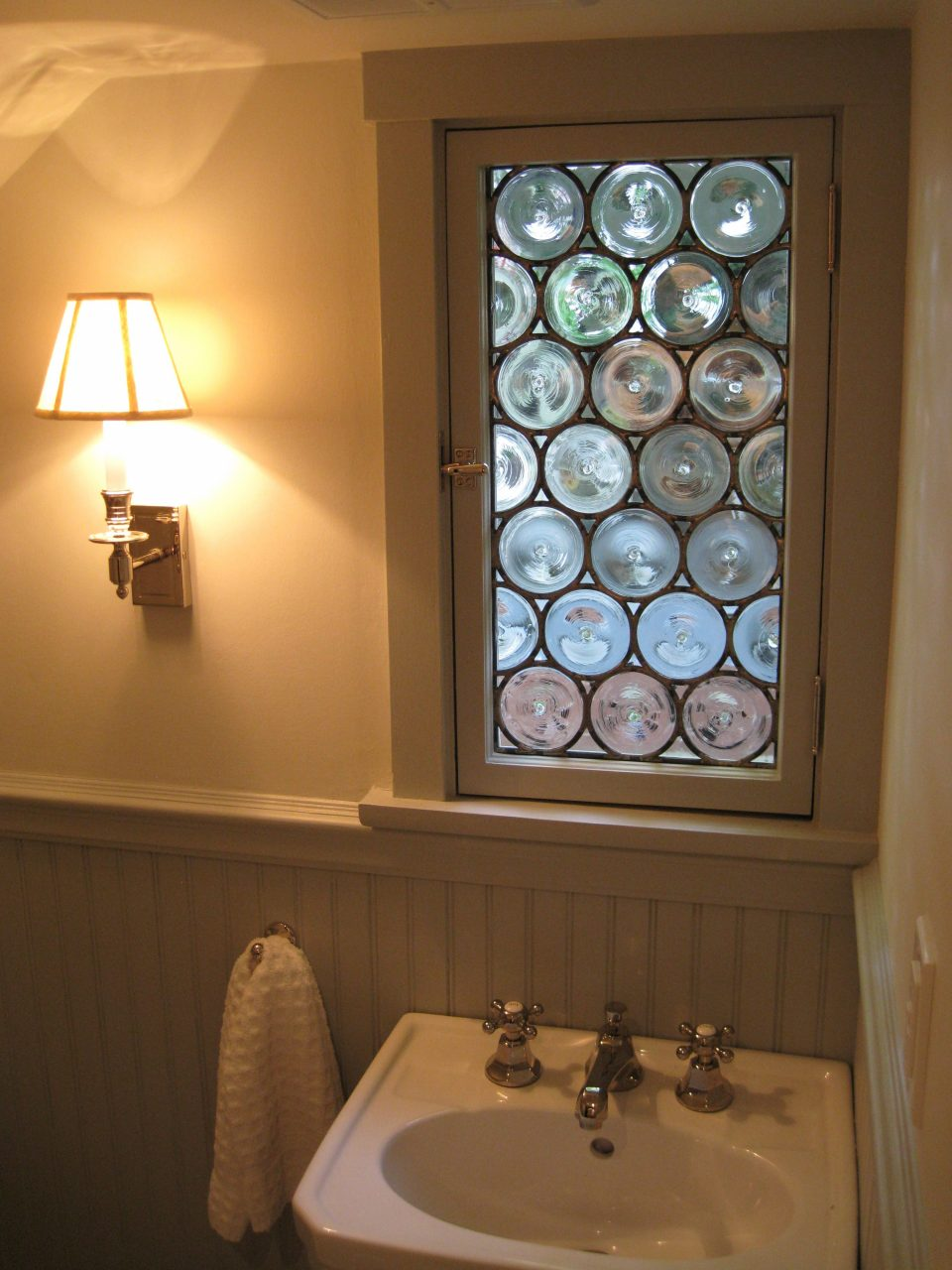 Leaded Stained Glass Handspun Glass Rondel Bathroom Window