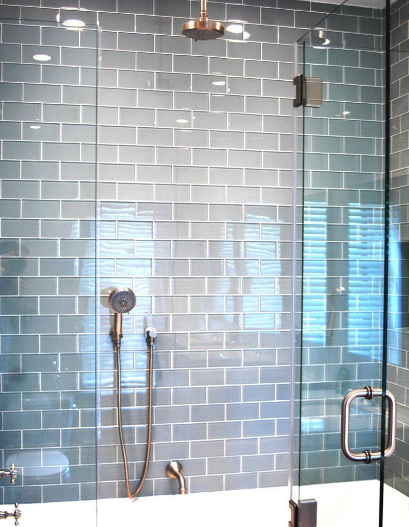 Light Gray Glass Subway Tile Bathroom Google Search For The Home
