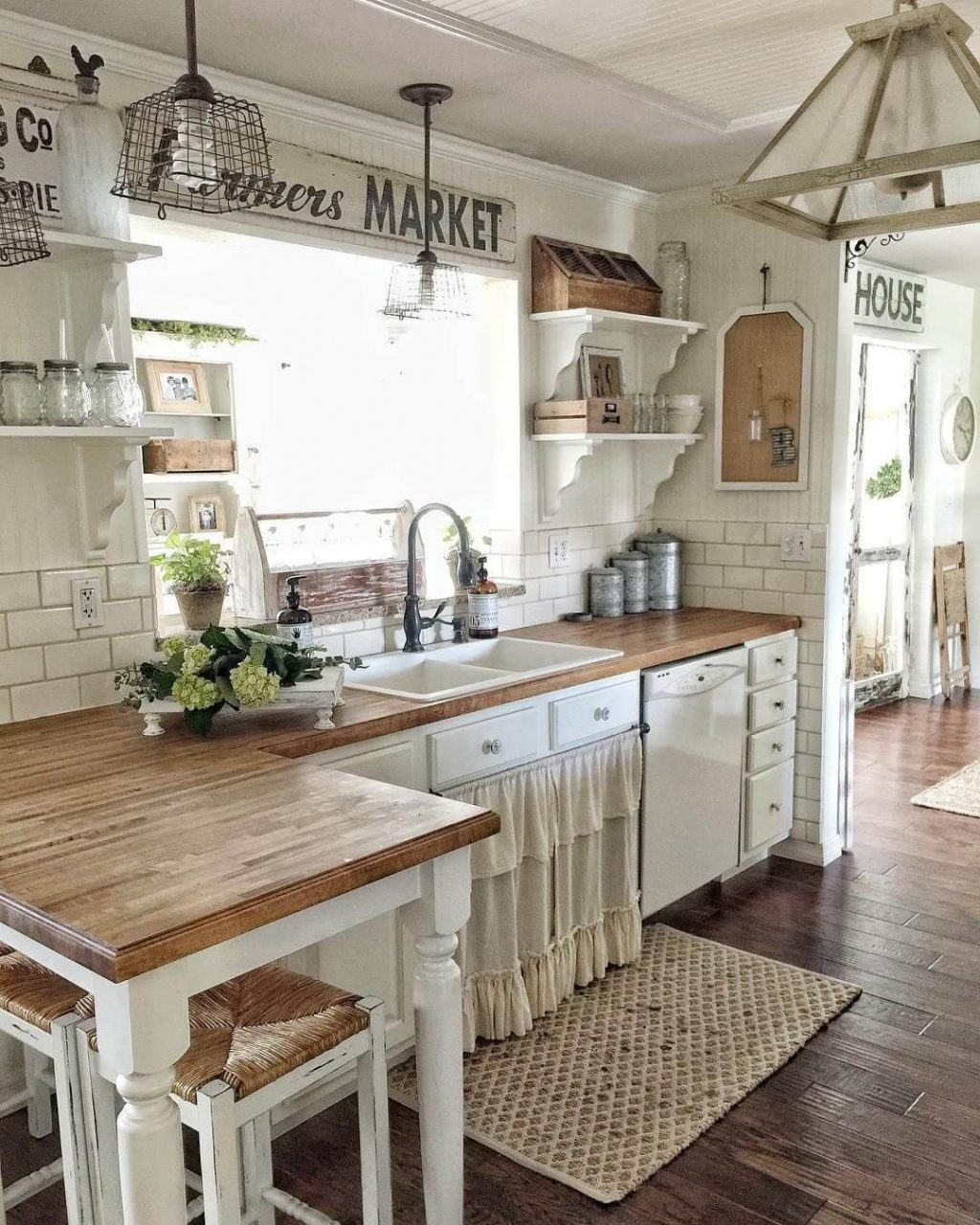 Lightly Rustic Off White Farmhouse Kitchen Cabinets For The Home
