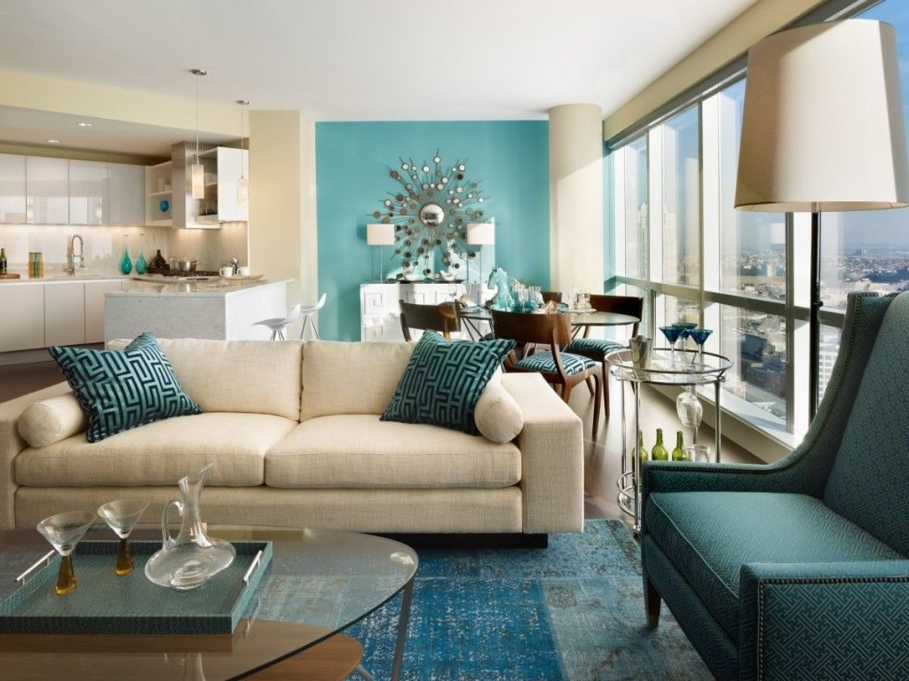 Living Room Aqua Blue Themed Living Room Decorating With Beige
