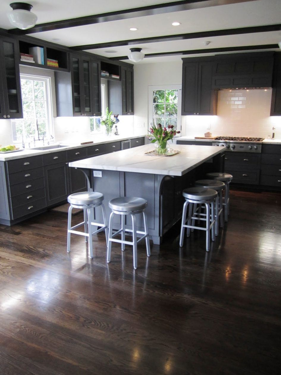 Love This Cabinet Color Backsplash Ideas Wood Floor Kitchen