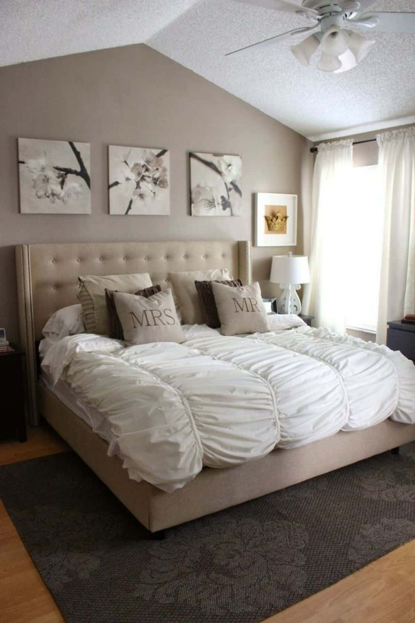 Lovely Bedroom Designed With Neutral Wall Colors And Decorated With