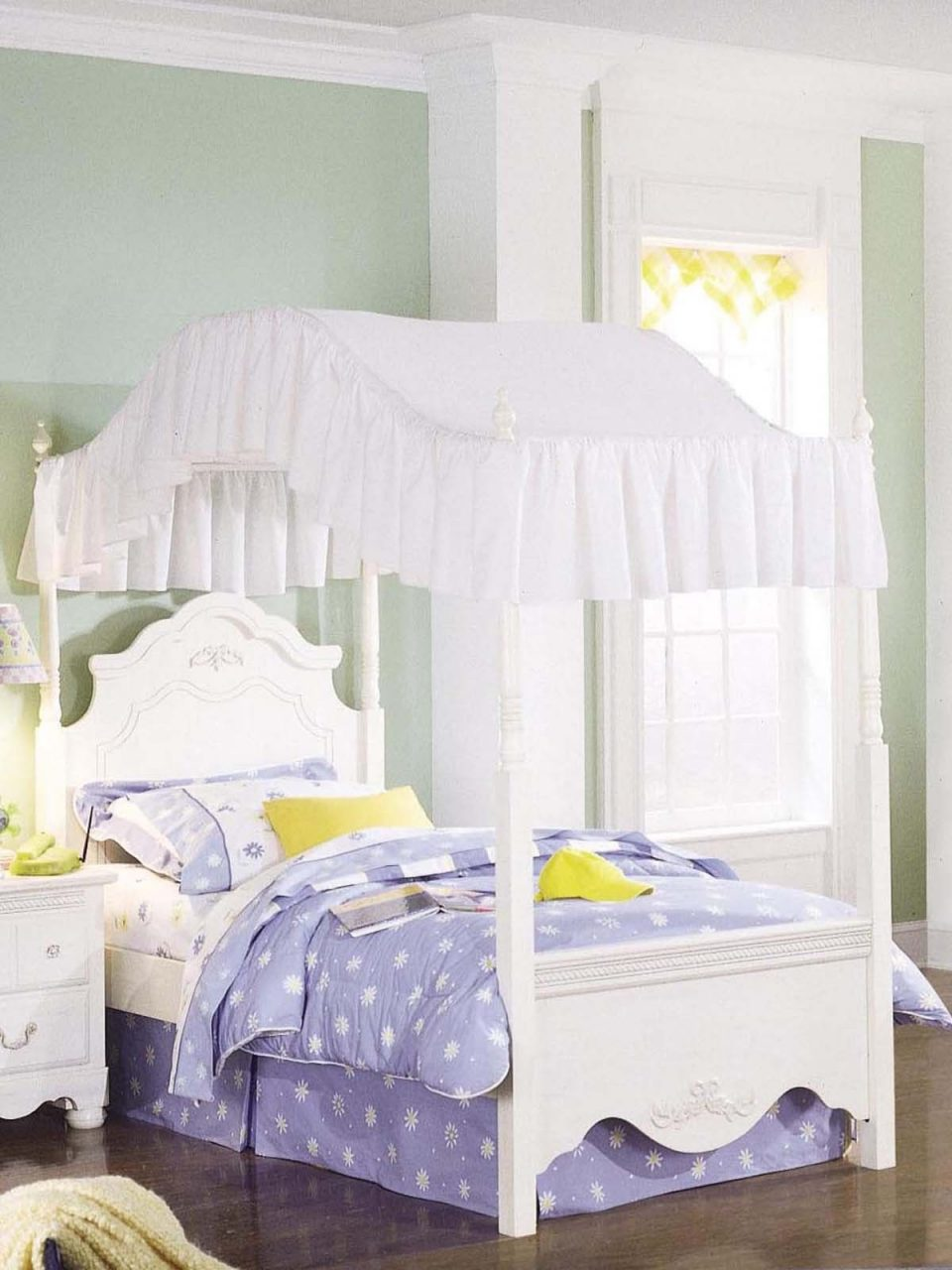 Lovely White Custom Wooden Bed With Cool Canopy Bed Curtains And