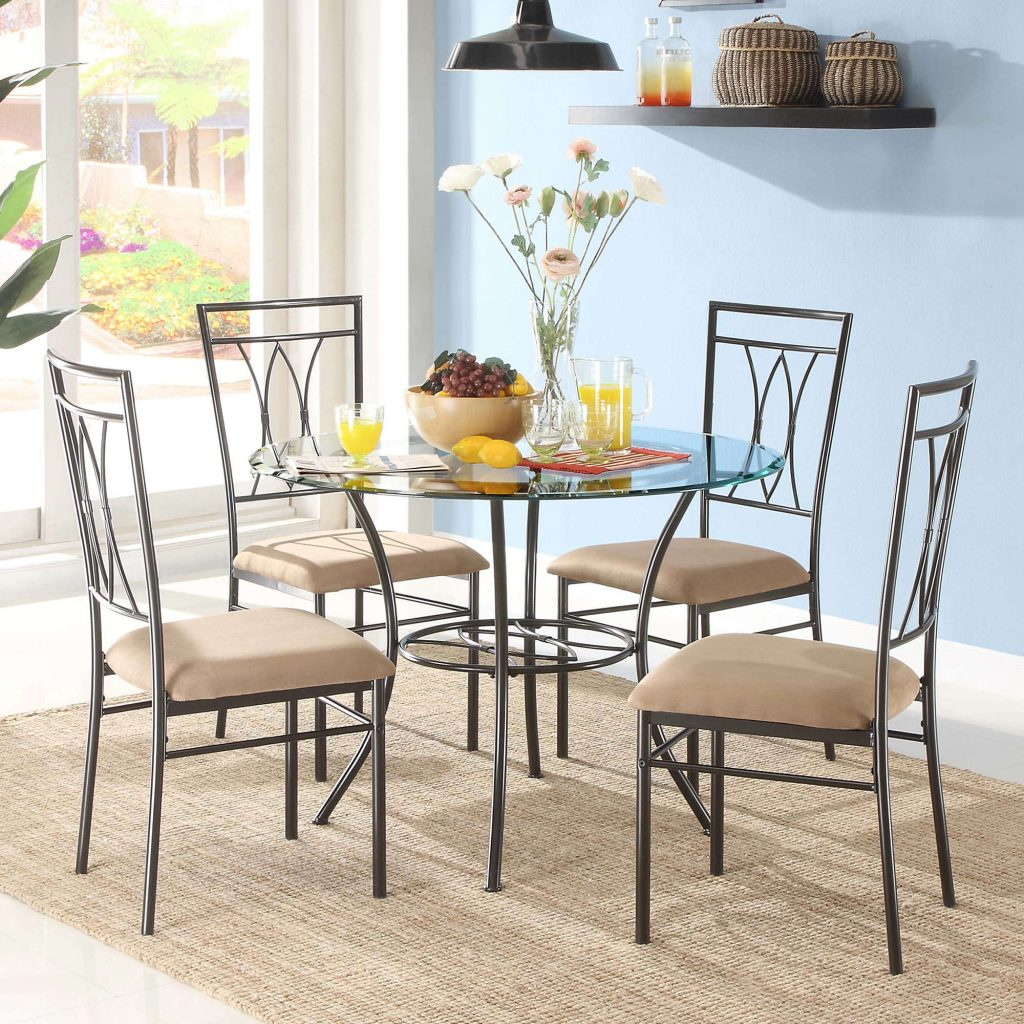 Mainstays 5 Piece Glass And Metal Dining Set Walmart