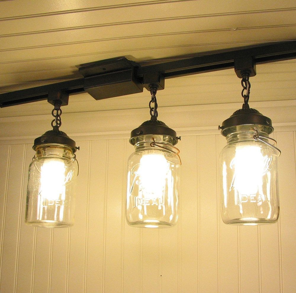Mason Jar Track Lighting With Vintage Quarts Kitchen Renovation