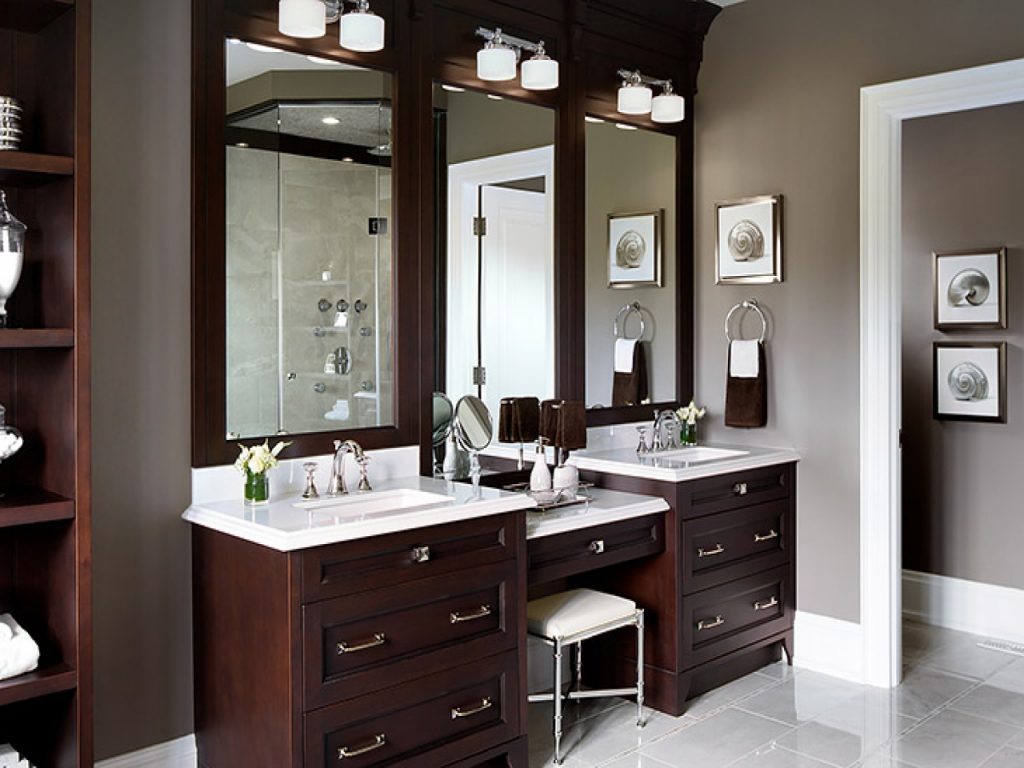 Master Bathroom Vanity With Makeup Area Bathroom Home Vanity Mirror