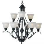 9 Light Chandelier Black