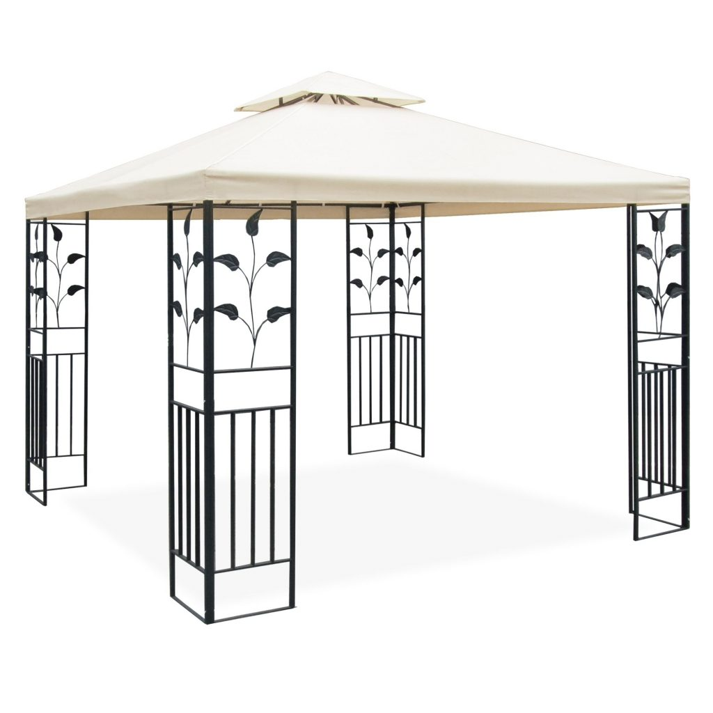 Metal Gazebo Pavilion 3 X 3 M Ornaments Wrought Iron Anthracite