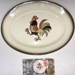 Metlox Poppytrail Red Rooster Serving Platter Dish With Booklet 135