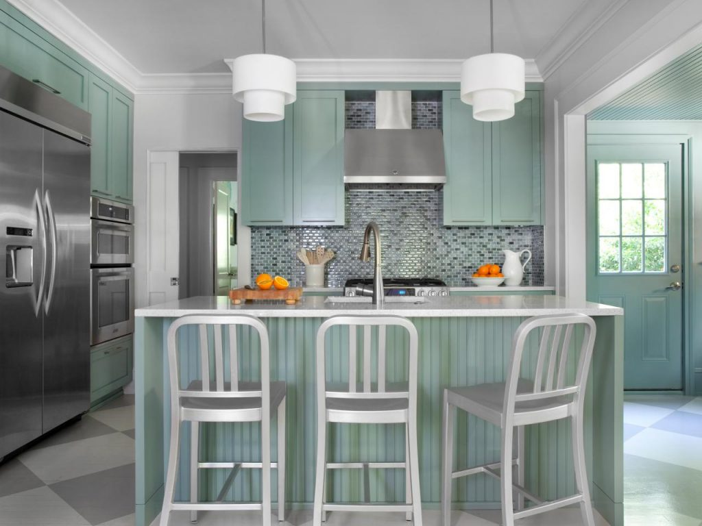 Mint Green Kitchen Cabinets With Mosaic Backsplash Tiles