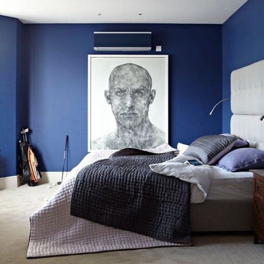 Modern Bedroom Decorating Ideas With Navy Blue Cabi And Stylish Duck