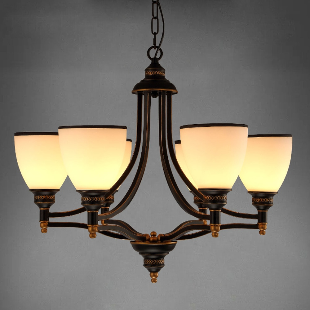 Modern European Chandelier Simple Retro Chandelier Bronze