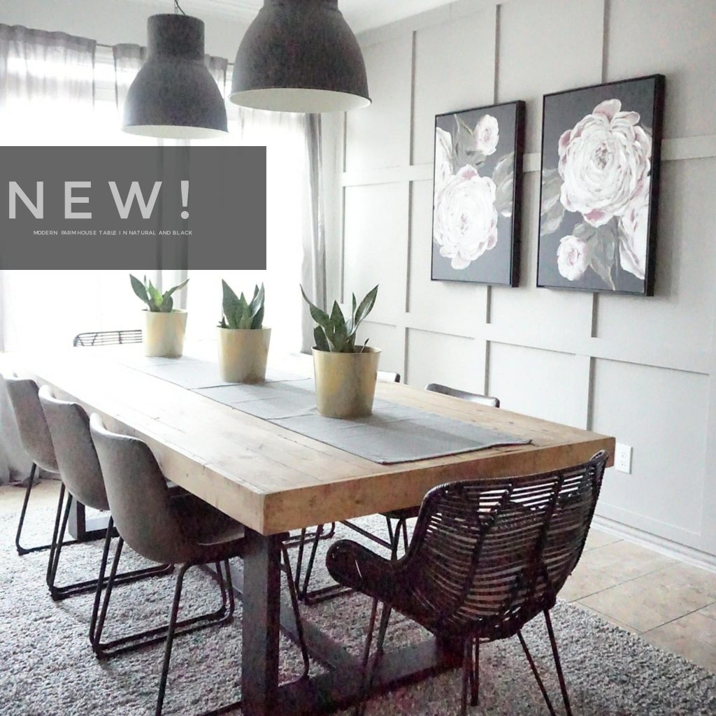 Modern Farmhouse Dining Table With Black Base And Natural Top Etsy