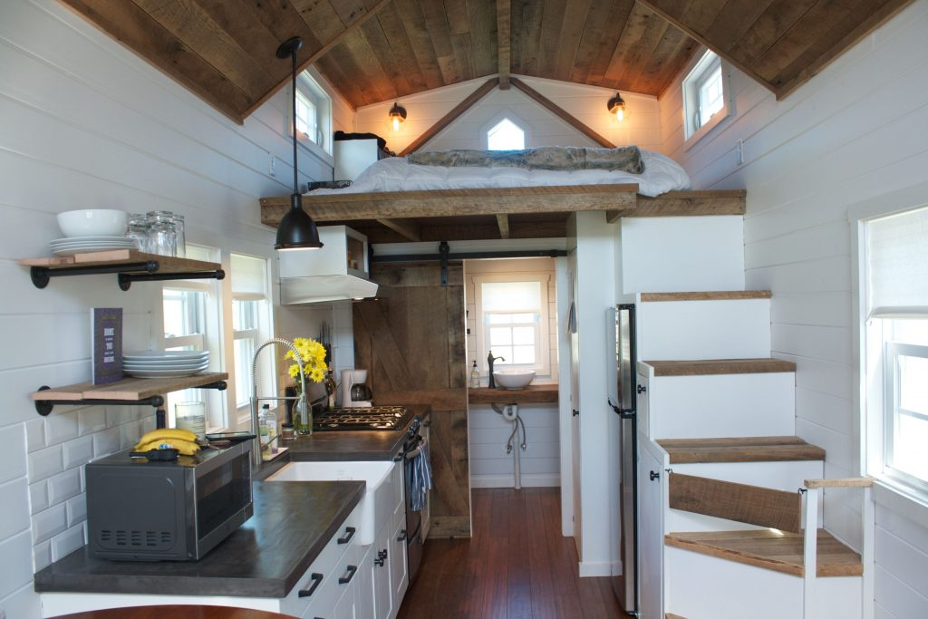 Modern Farmhouse Tiny House On Wheels Reclaimed Barn Wood Concrete