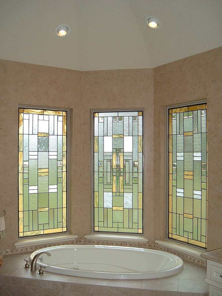 Modern Stained Glass Bathroom Windows Gold White Flickr