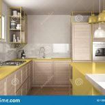 Modern White And Yellow Kitchen With Wooden Details And Parquet