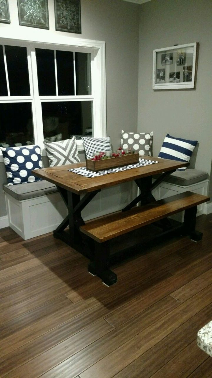 My Husband Built This Table And Bench Seating For My Nook Area I