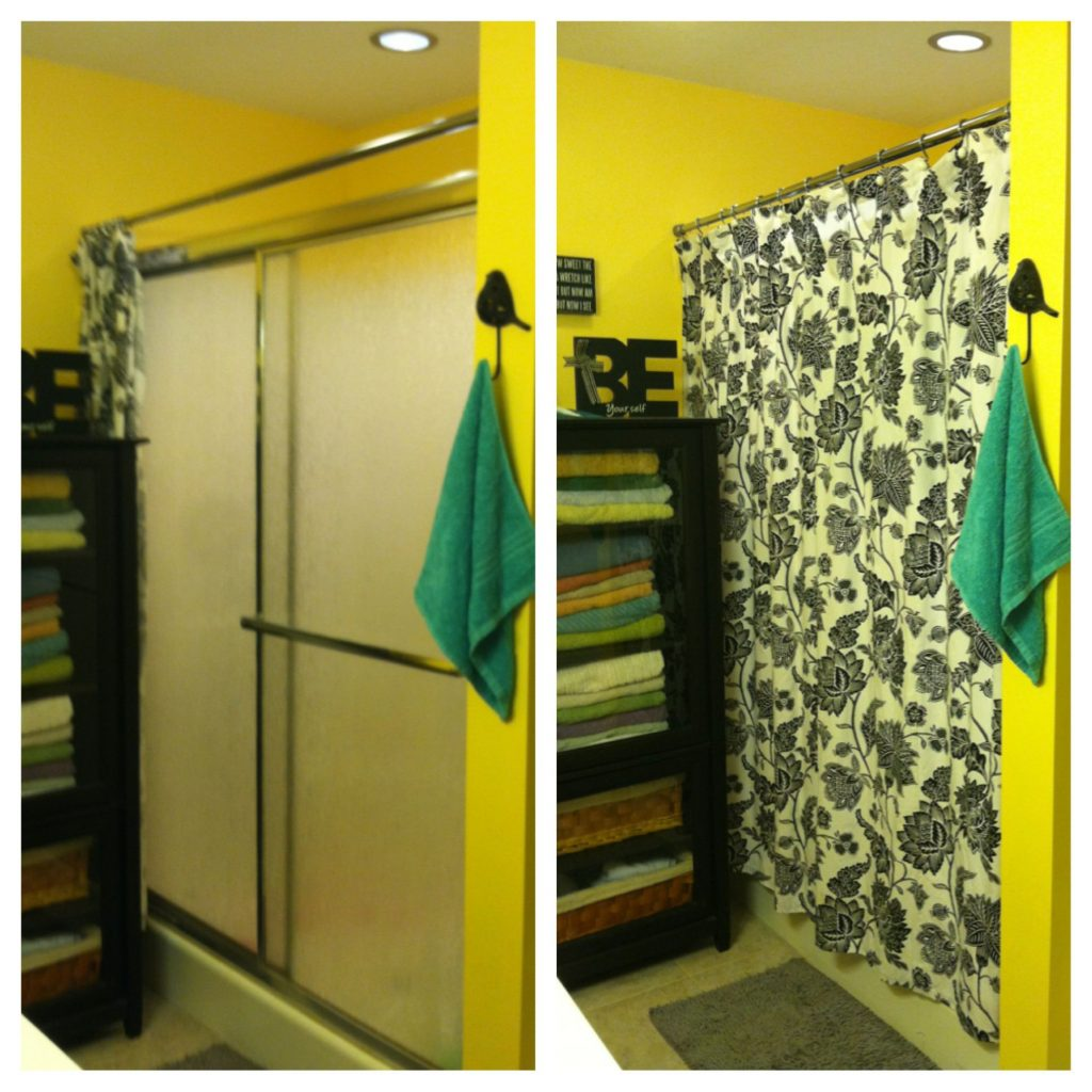 My Simple Solution To Hide Those Ugly Sliding Shower Doors Fabric
