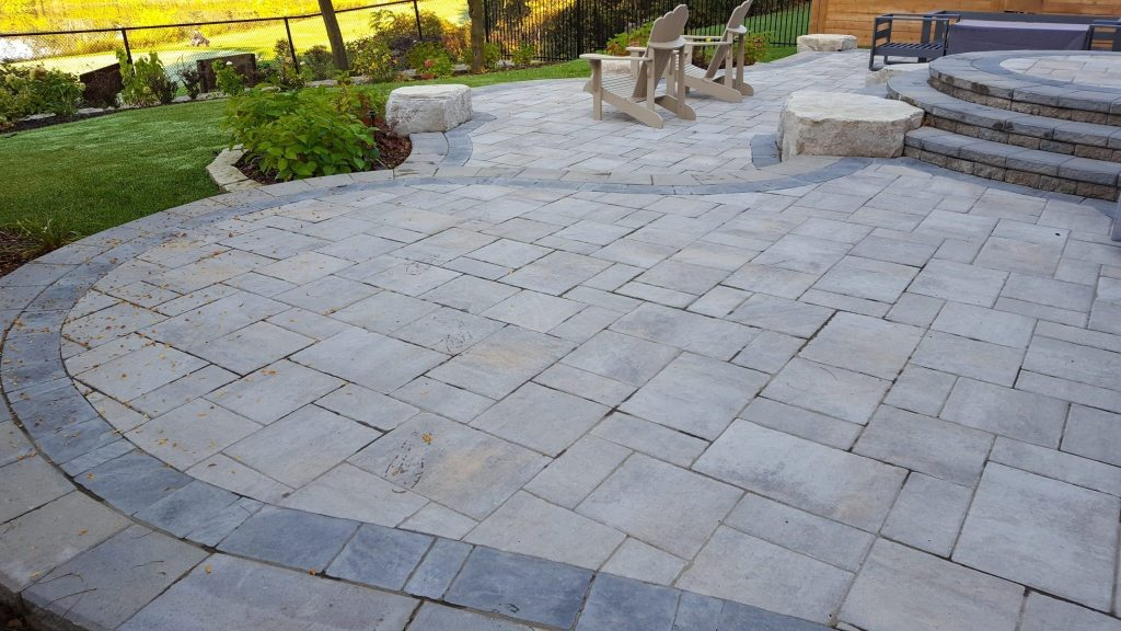 Natural Stone Backyard Patio Suburban Garden Design And