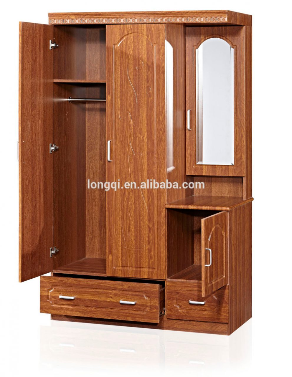 New Arrival Bedroom Mdf Wardrobe Design Wood Clothes Cabinet Mirror