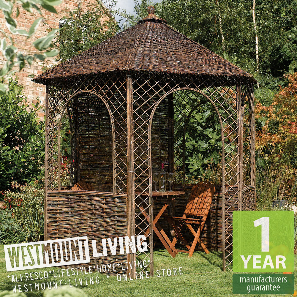 New Wood Floor Willow Natural Garden Patio Rustic Gazebo Pagoda Ebay