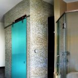 Ocean Glass Bathroom Door