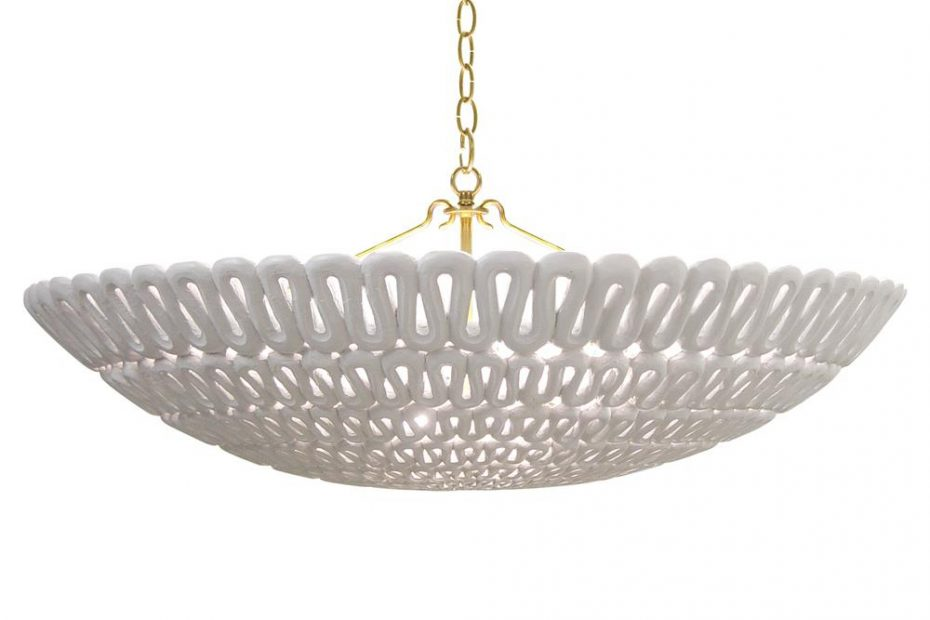 Oly Studio Pipa Frost White Ribbon Bowl Chandelier Kathy Kuo Home
