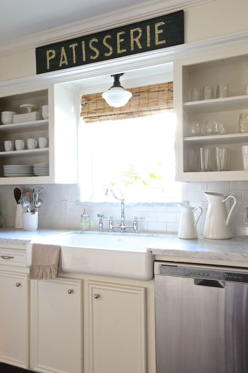 Open Shelving Farmhouse Sink Bridge Faucet Schoolhouse Light