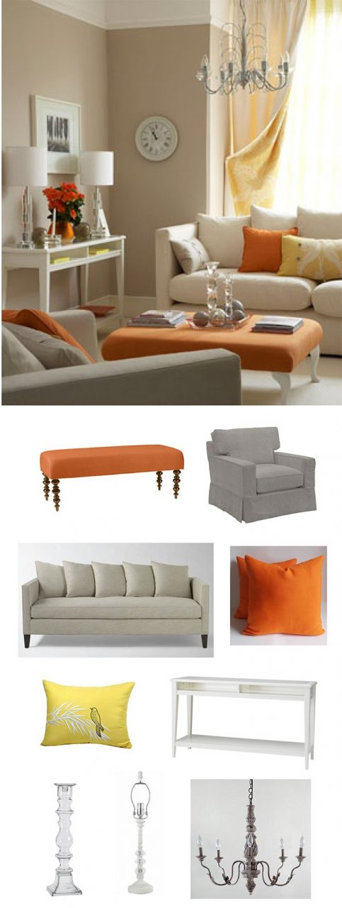 Orange Is So Fresh With A Cream Palette In A Contemporary Living