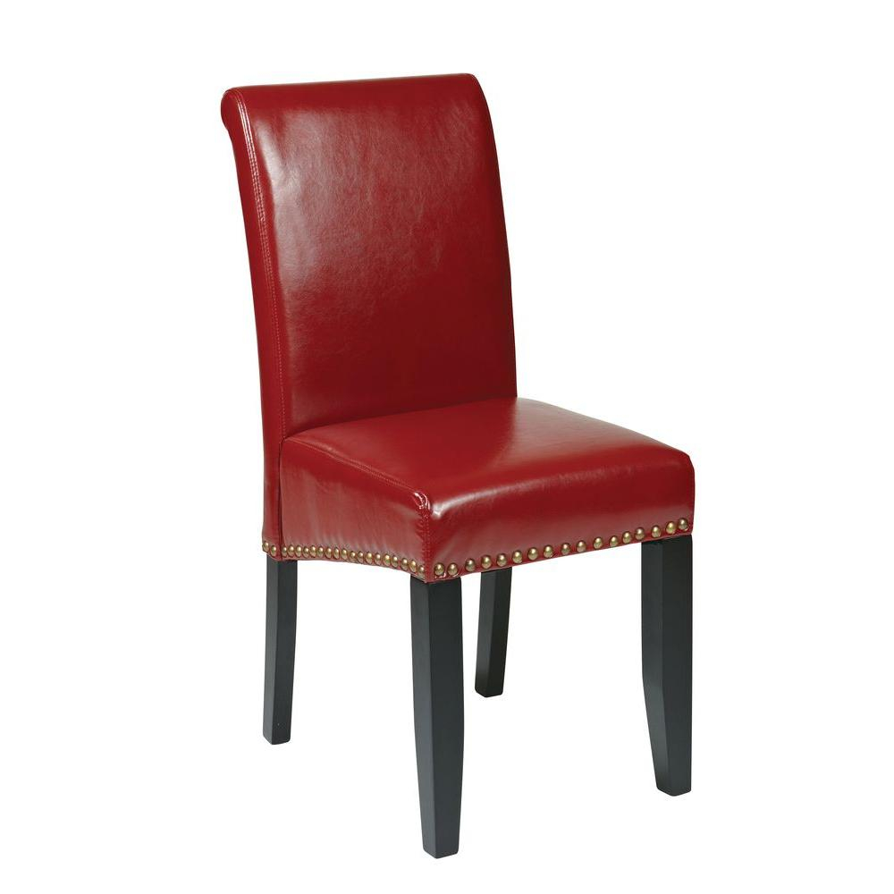 Osp Home Furnishings Crimson Red Eco Leather Parsons Dining Chair