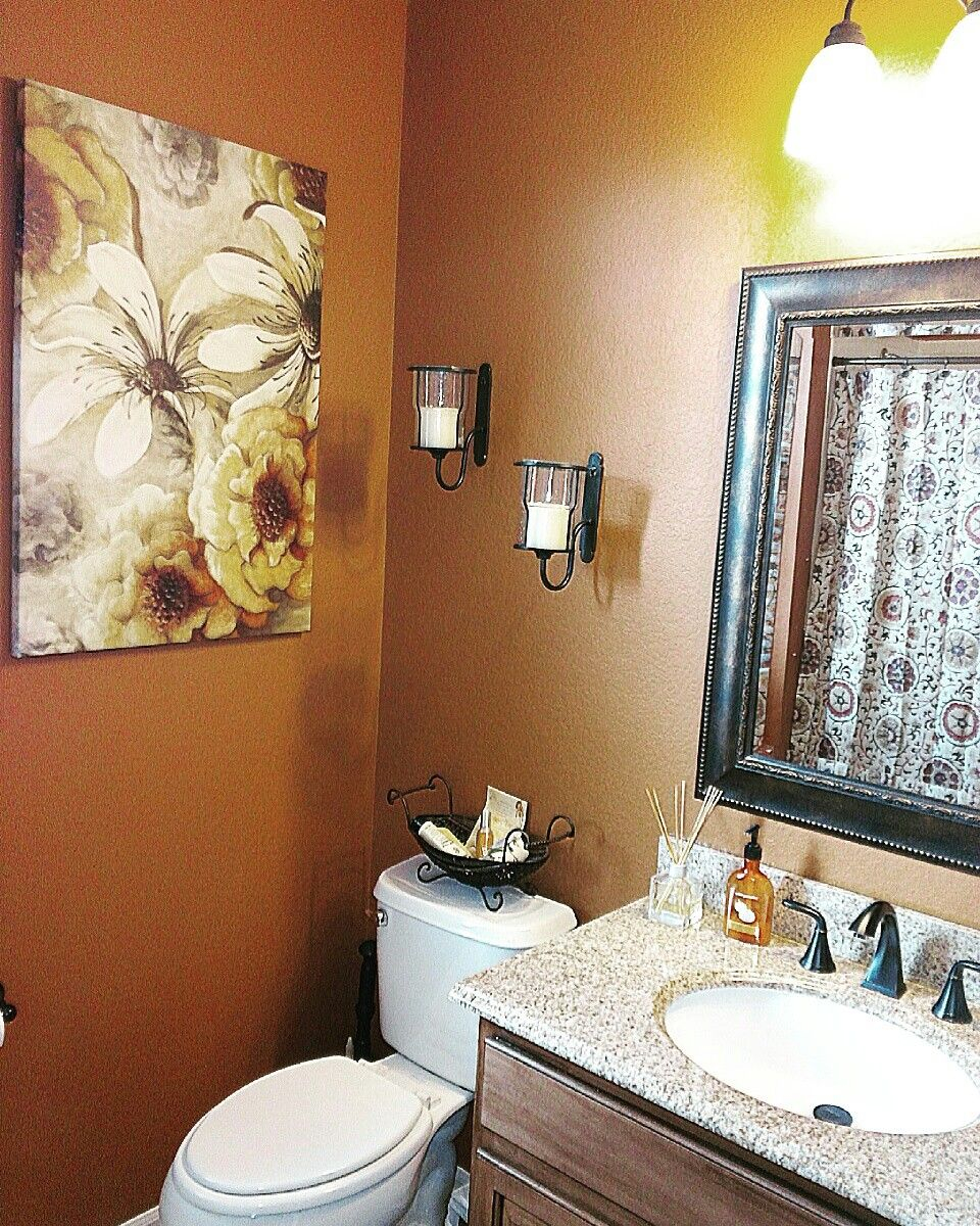 Our Bathroom Redo Burnt Orange Walls And Bronze Accents House