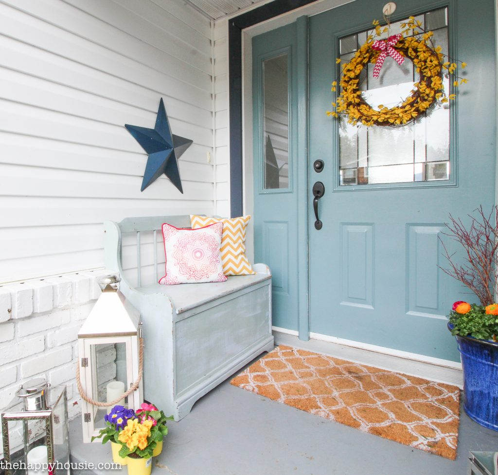 Our Spring Front Porch Beautiful Spring Wreaths The Happy Housie