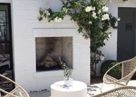 Outdoor Brick Fireplace White