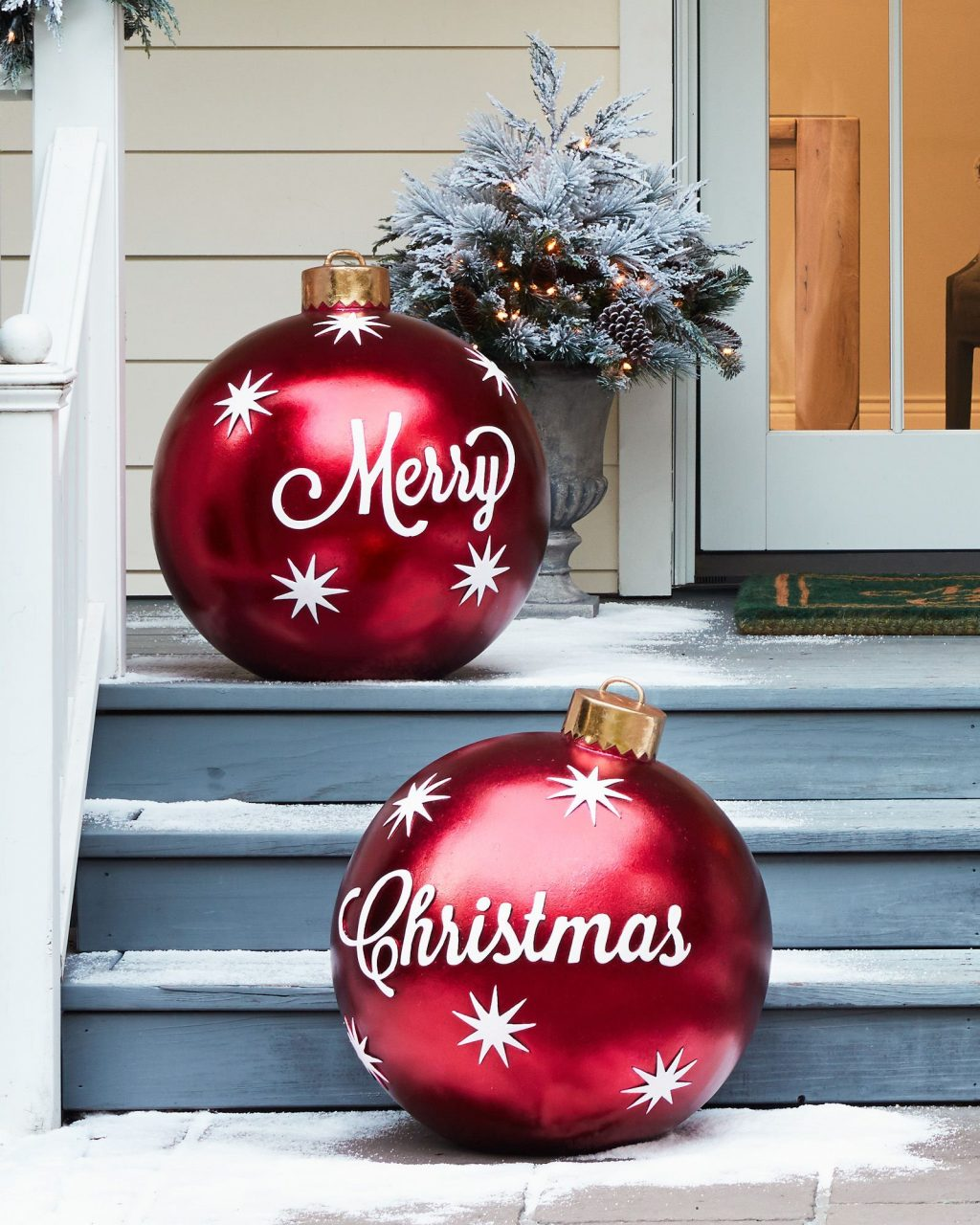 Outdoor Merry Christmas Ornaments Set Of 2 Christmas Porch Decor