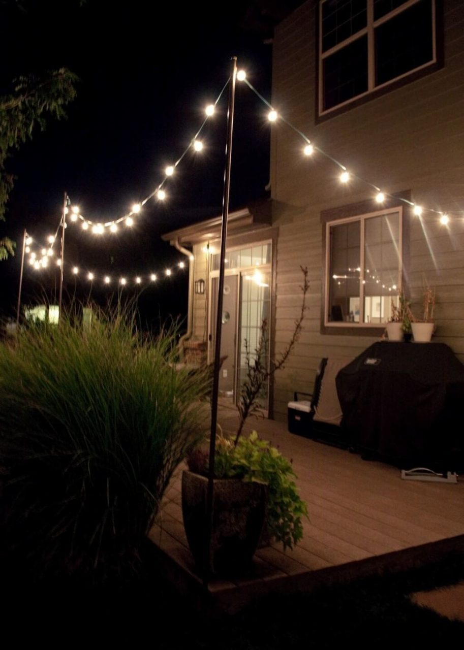 Outdoors Romantic Diy Patio String Lighting Ideas For Deck Patio