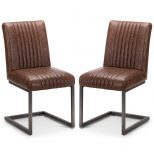 Pair Of Julian Bowen Brooklyn Faux Leather Dining Chairs Bro107