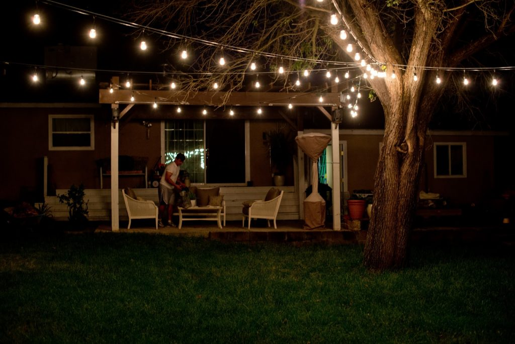 Patio Lights String In Tree As Centerpiece Outdoor Patio String