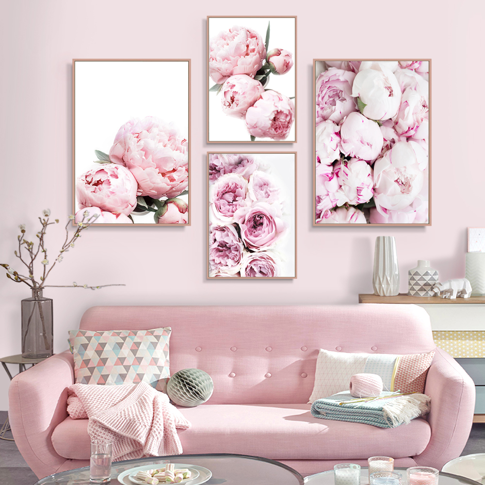 Peony Print Floral Botanical Wall Art Pastel Pink Flowers Poster