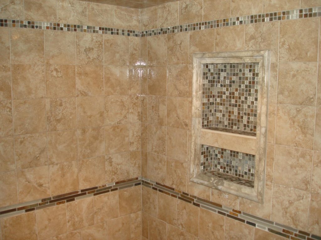 Porcelain Tile Shower With Glass And Slate Borders And Reglazing