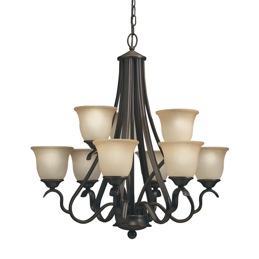 Portfolio Llana 9 Light Black Bronze Traditional Etched Glass Shaded