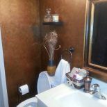 Powder Room Sponge Painted With Metallic Gold And Copper Paints