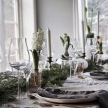 Pretty Swedish Christmas Tables With Grey Linen Bras Cutlery And