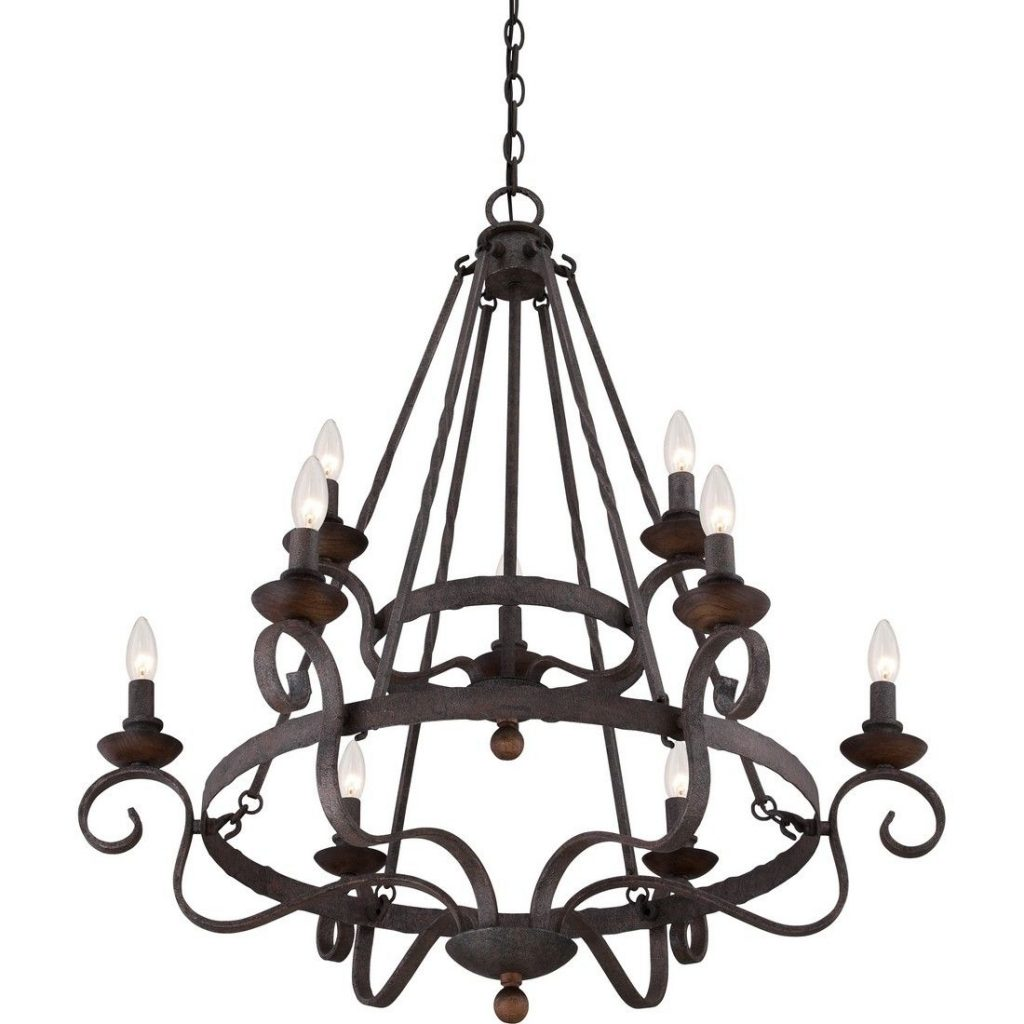 Quoizel Noble 9 Light Chandelier In Rustic Black Traditional
