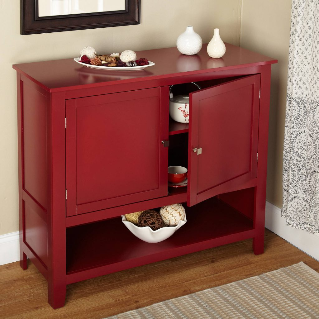 Red Buffet Cabinet Kitchen Storage Shelf With Doors Table Furniture