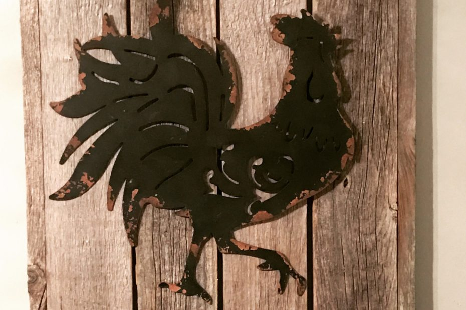 Rooster Decor Tin Rooster Rustic Decor Rooster Etsy