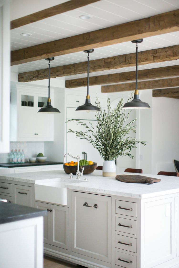 Rustic Beams And Pendant Lights Over A Large Kitchen Island Mom