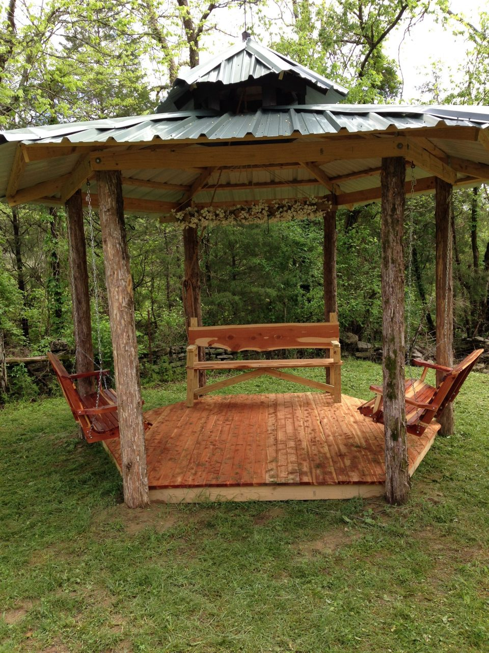 Rustic Cedar Hexagon Gazebo With Tin Roof Cedar Floor Cedar Swings