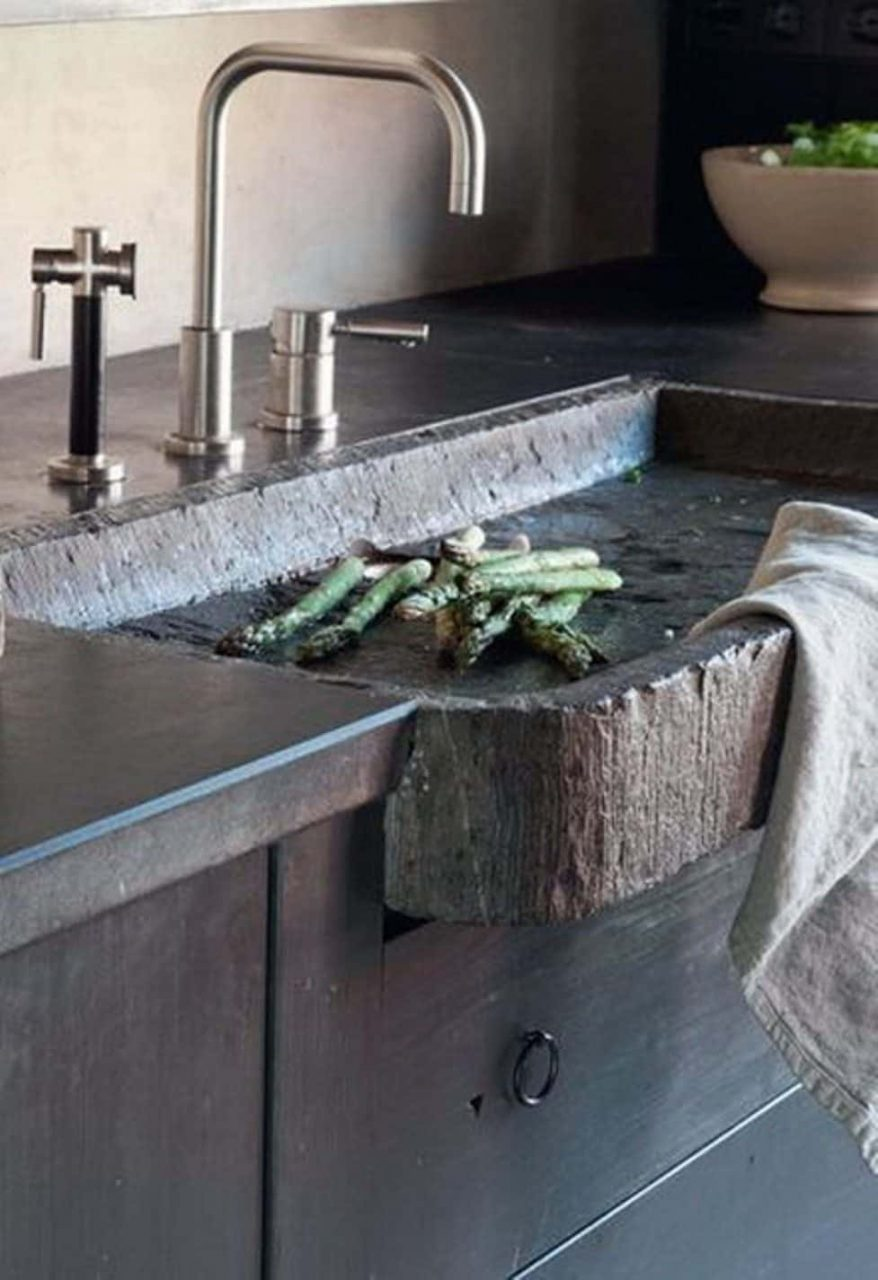 Rustic Modern Kitchen Features Modern Faucet And Hammered Stone Sink