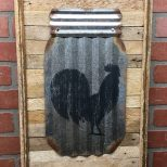Rustic Rooster Wall Decor Metal Rooster Decor Mason Jar Etsy